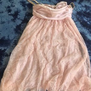 Dolce and Gabbana pink/blush lace dress silk bow
